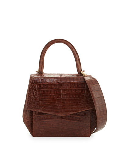 Crocodile Medium Structured Top-Handle Bag, Cognac Shiny