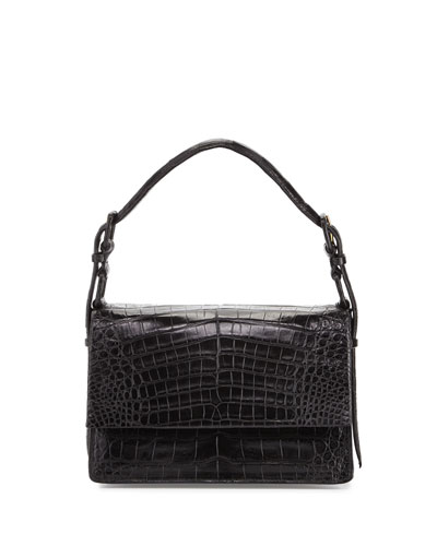 Mini Flap Crocodile Top-Handle Bag, Black Matte