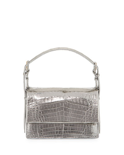 Mini Flap Crocodile Top-Handle Bag, Anthracite Mirror