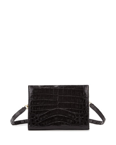 Crocodile Small Clutch Bag, Black Shiny