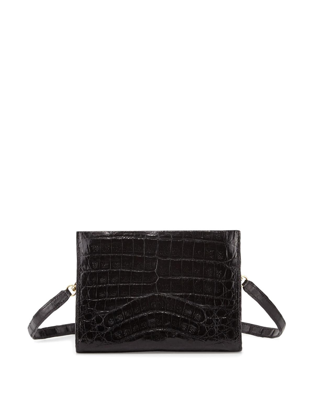 Crocodile Small Clutch Bag, Black Shiny