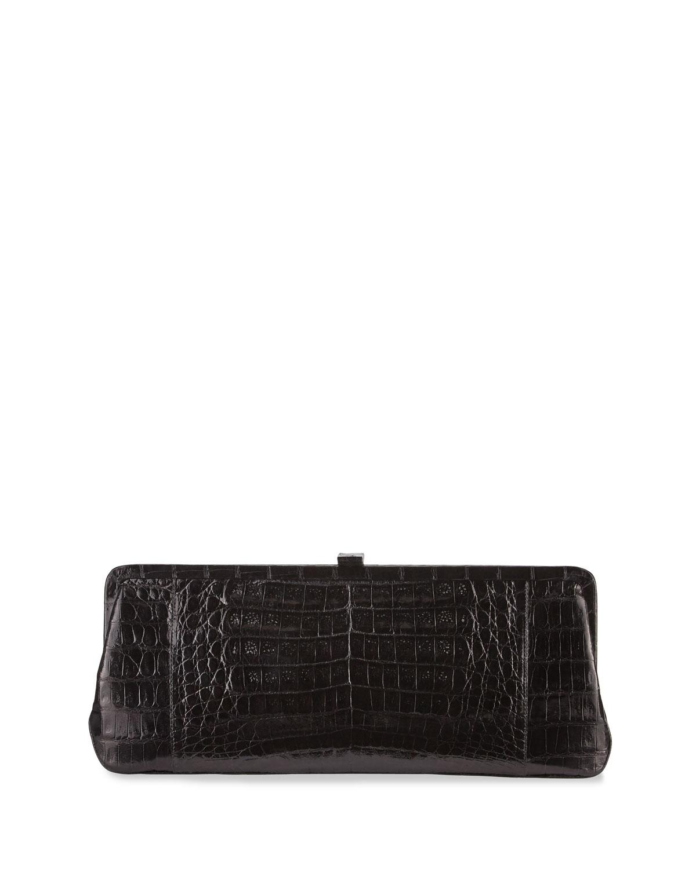 Small Frame Crocodile Clutch Bag, Black Shiny
