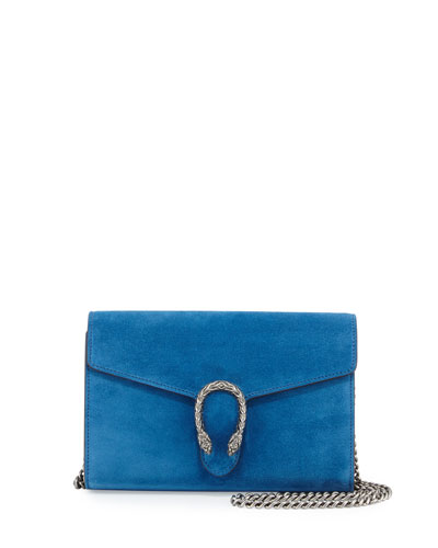 Dionysus Suede Mini Chain Bag, Blue