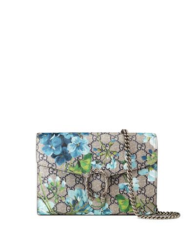 Dionysus Blooms-Print Mini Chain Bag, Blue/Navy
