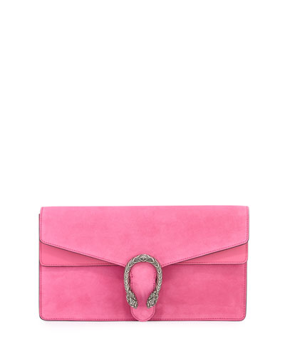 Dionysus Small Suede Clutch Bag, Pink