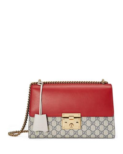 Padlock GG Supreme Medium Shoulder Bag, Red