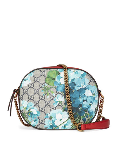 GG Blooms Mini Chain Bag, Blue/Red