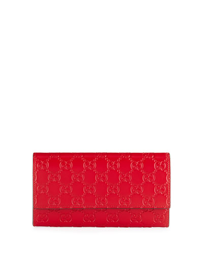 Gucci Signature Continental Wallet, Hibiscus Red