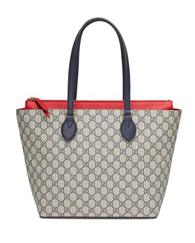 GG Supreme Medium Tote Bag, Blue/Red