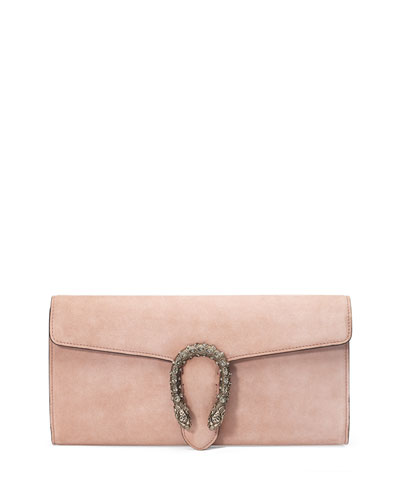 Dionysus Suede Clutch Bag, Crystal Pink