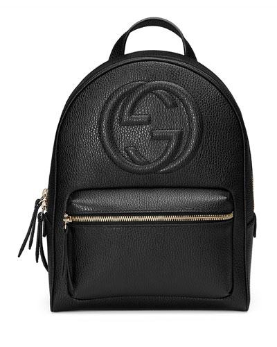 Soho Leather Chain Backpack, Black
