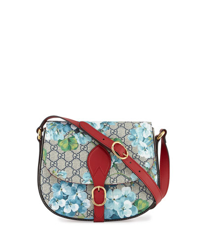GG Blooms Small Flap Saddle Bag, Blue/Red