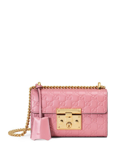 Padlock Gucci Signature Small Shoulder Bag, Rose