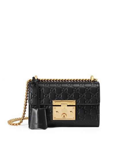 Padlock Gucci Signature Small Shoulder Bag, Black