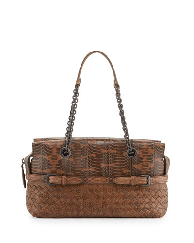 Medium Snakeskin East-West Zip-Top Shoulder Bag, Camel