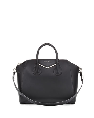 Antigona Medium Leather & Metal Satchel Bag, Black