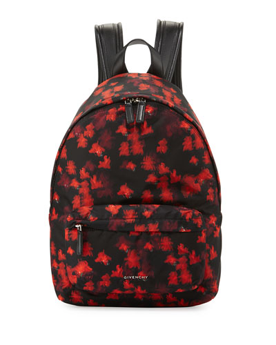 Small Floral-Print Nylon Backpack, Black/Red