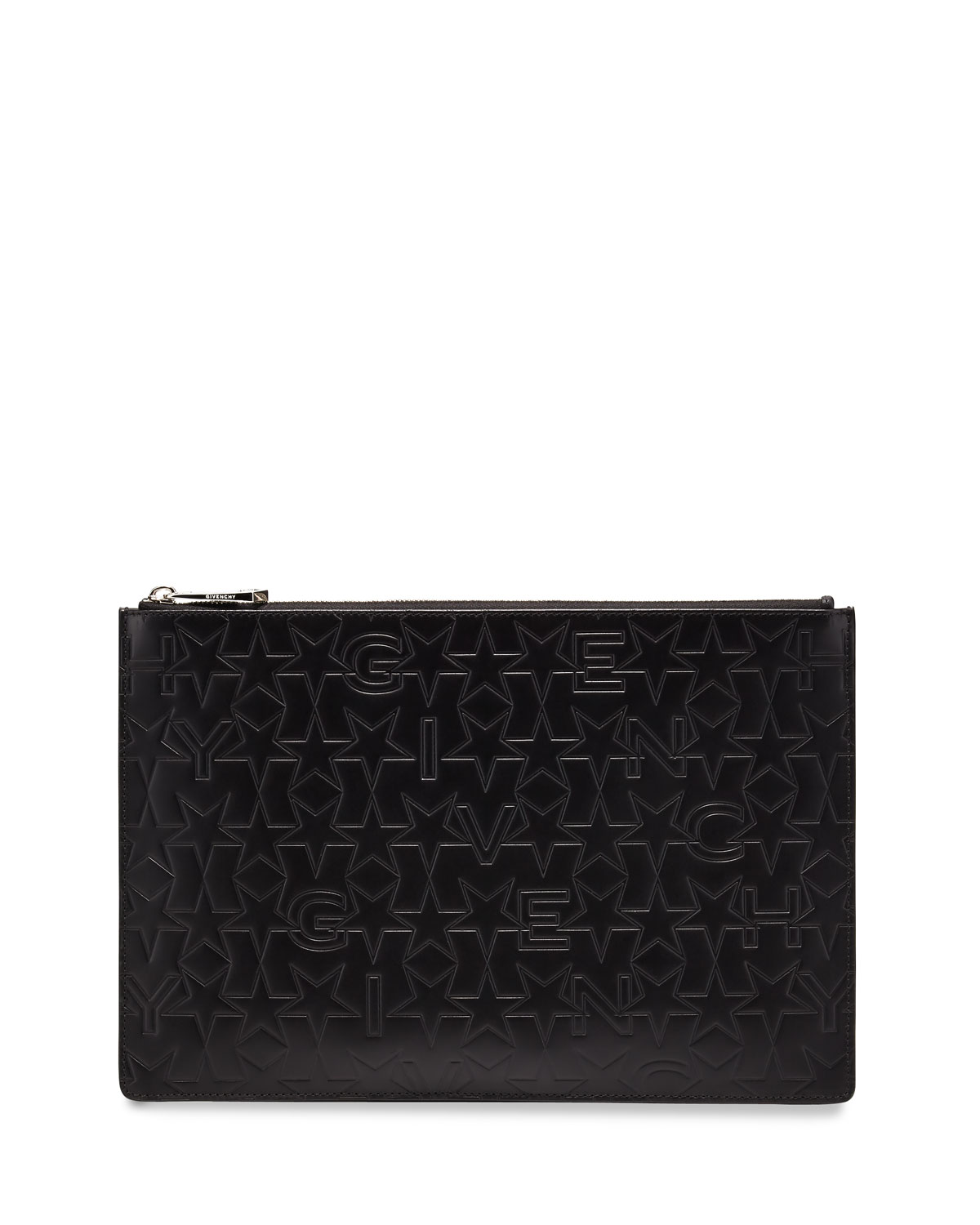 Star-Embossed Medium Pouch, Black