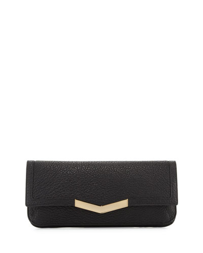 Gya Leather Clutch, Onyx