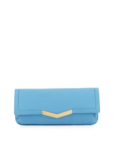 Gya Leather Envelope Clutch Bag, Atlantis