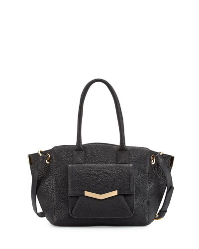 Jo Medium Leather Tote Bag, Onyx