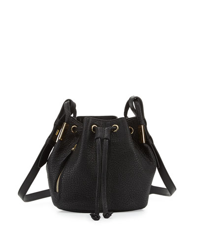 Lida Mini Leather Bucket Bag, Onyx