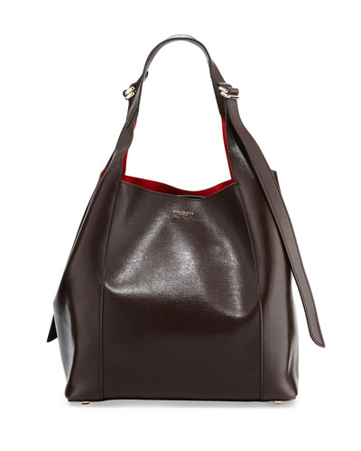 Faust Medium Leather Bucket Bag, Chocolate Brown