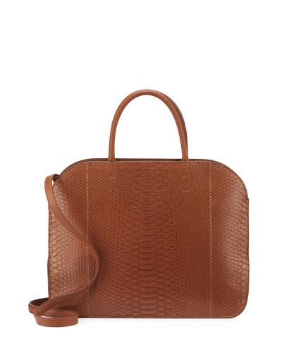 Elide Medium Oval Python Satchel Bag, Cinnamon