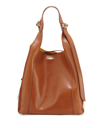 Faust Medium Leather Bucket Bag, Nut