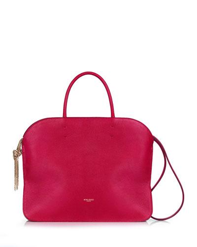 Elide Medium Oval Satchel Bag, Cherry Red