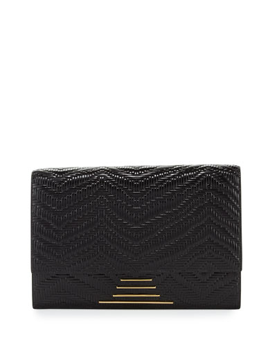 Hutton Woven Leather Clutch Bag, Onyx