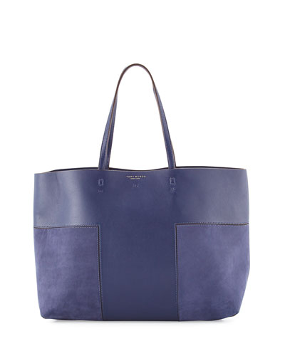 Block-T Leather Tote Bag, True Navy