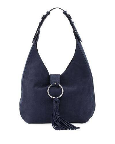 Suede Tassel Hobo Bag, True Navy