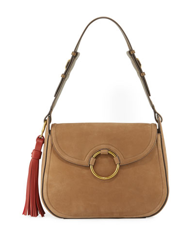 Tassel Large Leather Shoulder Bag, River Rock