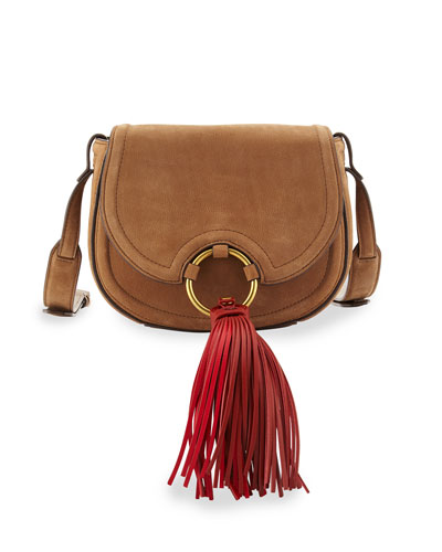 Tassel Mini Leather Saddle Bag, River Rock