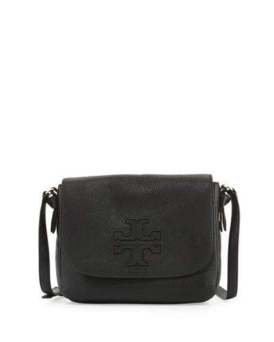 Harper Leather Messenger Bag, Black