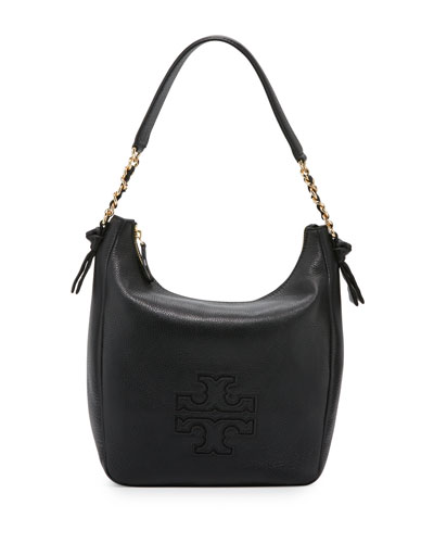 Harper Leather Zip Hobo Bag, Black