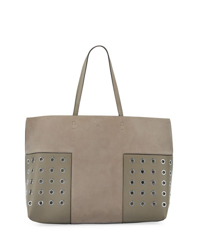 Block-T Grommet Leather Tote Bag, French Gray