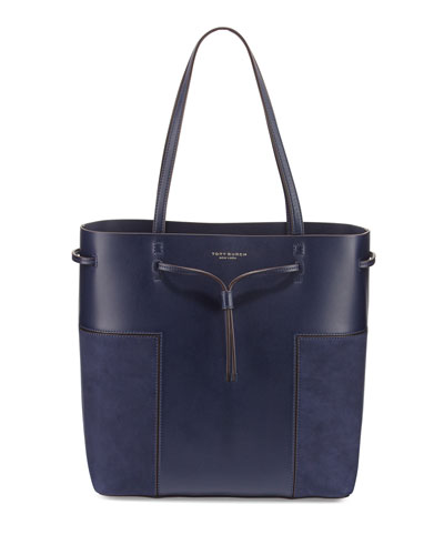 Block-T Leather Bucket Tote Bag, True Navy