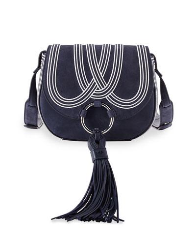 Tassel Mini Leather Saddle Bag, True Navy