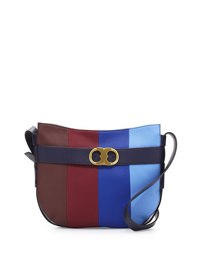 Gemini Link Belted Striped Shoulder Bag, Toba/Mer/Mac/Fres