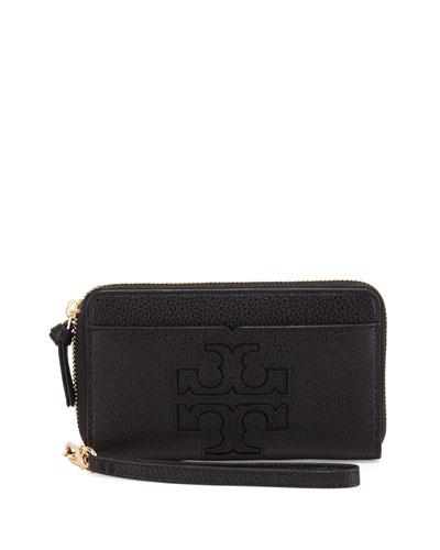 Harper Leather Phone Wristlet, Black