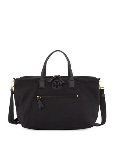 Ella Packable Nylon Satchel Bag, Black