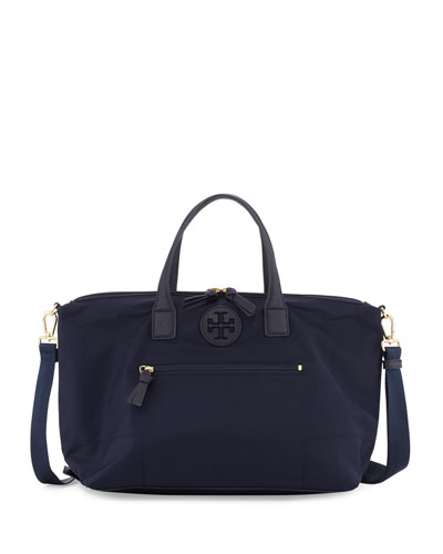 Ella Packable Nylon Satchel Bag, Tory Navy