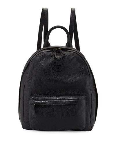 Zip-Around Leather Backpack, Black
