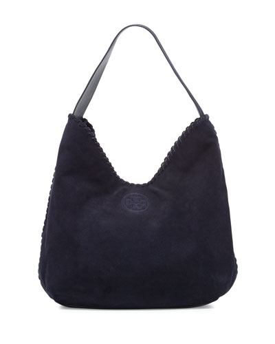 Marion Suede Hobo Bag, Tory Navy