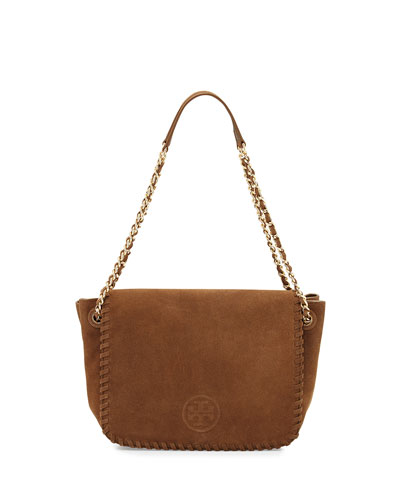 Marion Small Suede Flap Shoulder Bag, River Rock