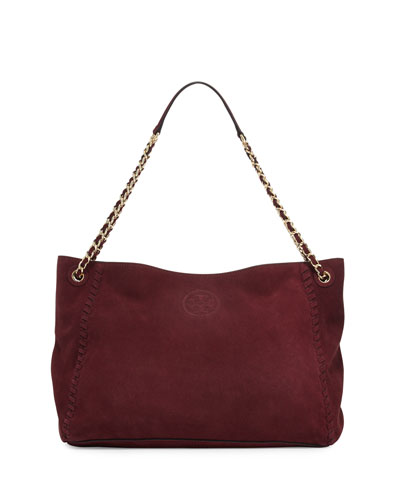 Marion Slouchy Suede Chain Tote Bag, Port