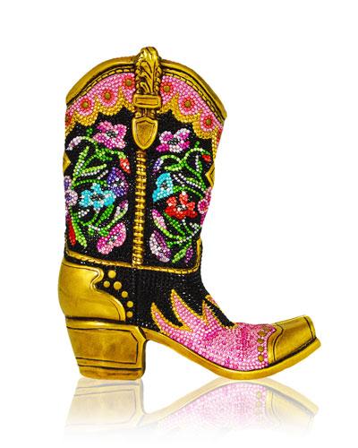 Belle Crystal Cowboy Boot Evening Clutch Bag, Antique Gold/Jet