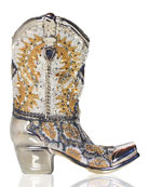 Cassidy Crystal Cowboy Boot Evening Clutch Bag, Silver/Multi